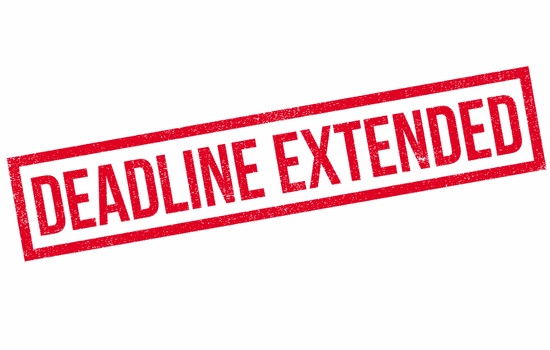 deadline extended stamp in red