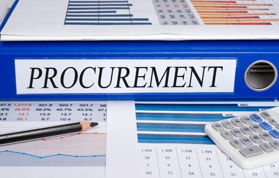 blue procurement binder with calculator and pencil