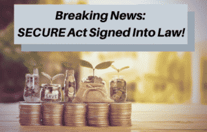 Breaking news: secure act signed into law. Jars of money with plants growing out of them sit on top of coins.