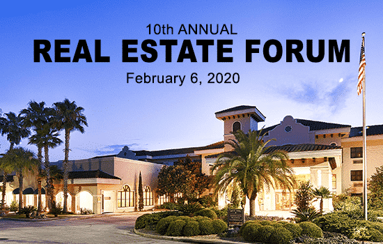 Picture of Best Western Gateway Hotel in Gainesville with words that say 10th Annual Real Estate Forum February sixth two thousand twenty