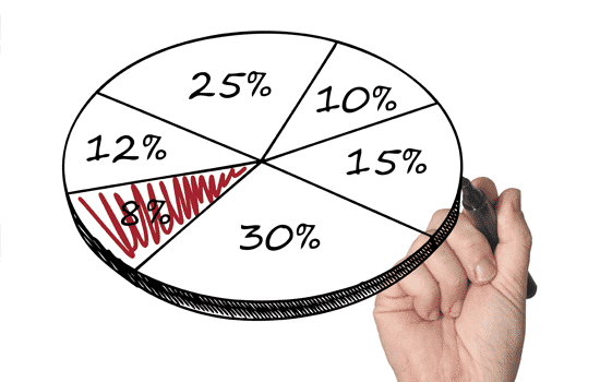 Hand with pen drawing pie chart with eight percent of the chart scribbled out.