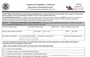 Form I-9 with arrow pointing to new date