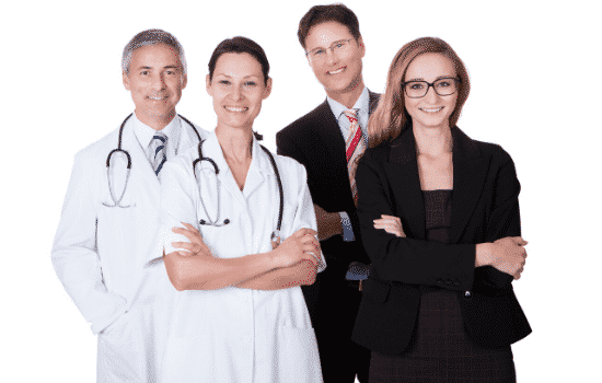 two doctors and two accountants standing side by side