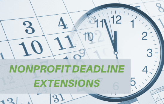 "calendar and clock illustrations with ""nonprofit deadline extensions"" printed"