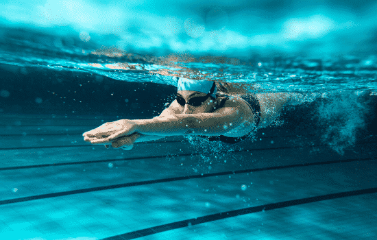 underwater view of collegiate swimmer