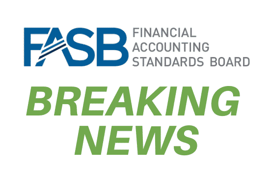 "FASB logo with ""breaking news"" written below"