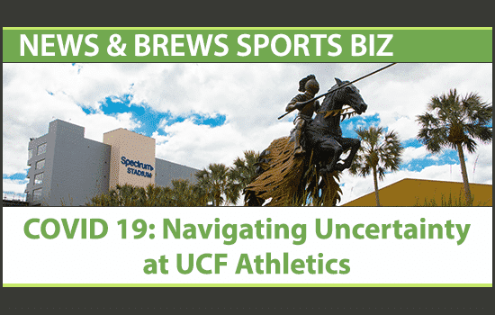 Knight statue outside UCF football stadium, with News & Brews title