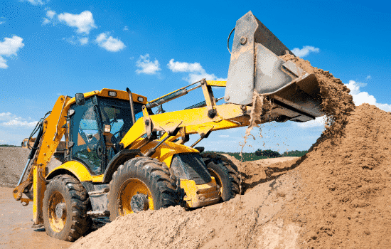 bulldozer operating at construction site