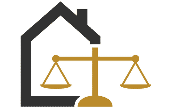 graphic outline of house and lawyer scales representing legal considerations of real estate