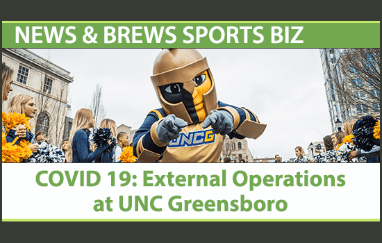UNC Greensboro mascot with News & Brews title on External Operations