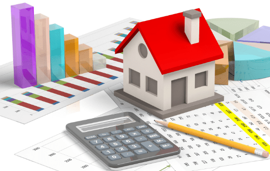 House, Calculator, Pencil and Graph