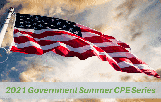 American flag flying with overlay text announcing government webinar